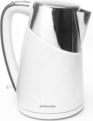 Andrew James Apollo Kettle In White Fast Boil Cordless 3000 Watts 1.7 Litre Jug