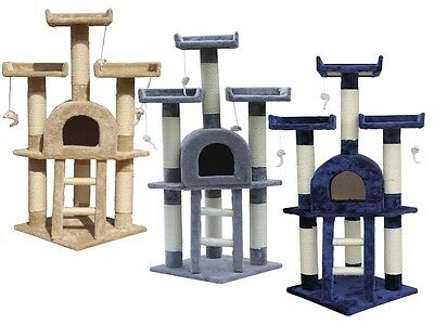 MEDIUM KITTEN CAT TREE SCRATCHING POST ACTIVITY CENTRE BED TOY SCRATCHER 115cm