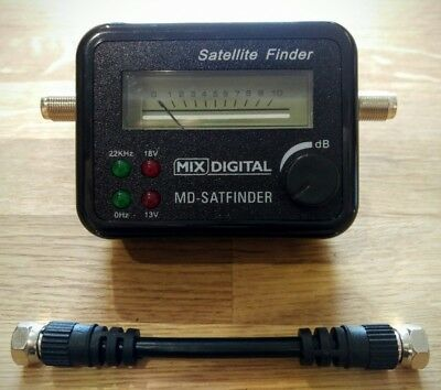 Mix Digital Satellite Finder Signal Meter for Aligning Dish with Patch Lead