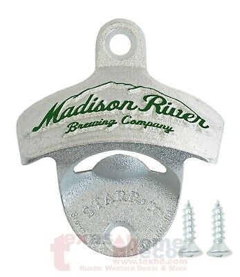 EMBOSSED Madison River Brewery Beer Bottle Opener Starr X Wall Mounted Cast Iron