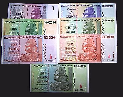 7 Zimbabwe Banknotes.1 Dollar, 1,5,10,20,50 Billion&10 Trillion dollars-currency