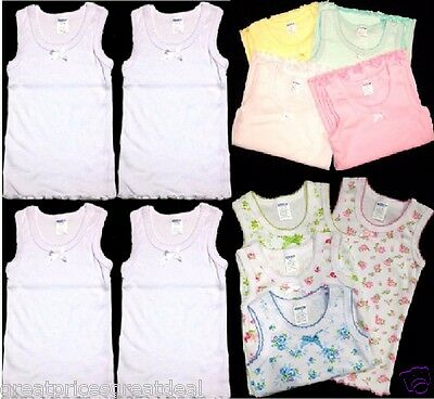 4pk Girls Regular Straps MGM Tank Tops Cotton Undershirts Toddler Kids Size 1~12