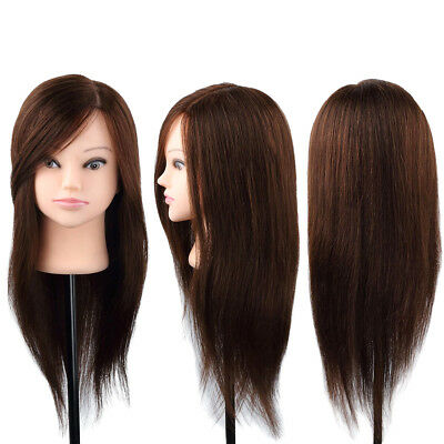 100% Human Hair Long Mannequin With Clamp Hairdressing Head Cut Salon Training