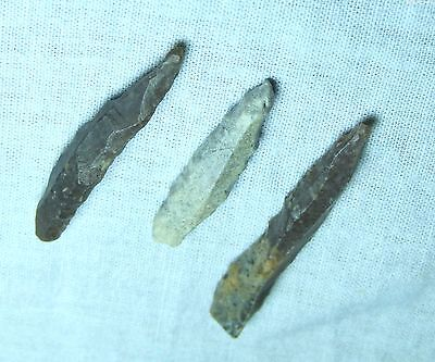 Rare Lot Of 3 Uk Found Rare Neolithic Flint Fishing Arrowhead Or Spear Points