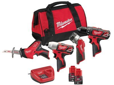Milwaukee M12BPP4A-202B 12v 4 Piece Tool Kit 2 x 2.0ah Red Li-ion
