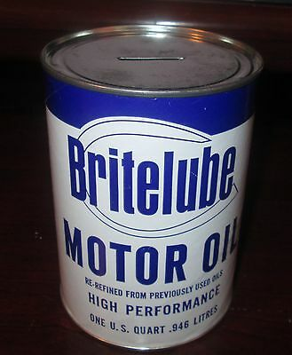 Promotional Brite-Lube Motor Oil Quart Composite Can Bank Tallahassee Florida Fl