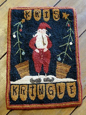 "Primitive Hooked Rug Pattern On Monks ""Kringle"""