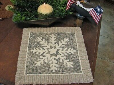 """Primitive Hooked Rug Pattern On Linen """"No Two Alike"""""""