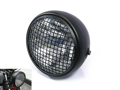Headlight for BMW Boxer Cafe Racer Scrambler Black Mesh Grill H4 55W Retro 7.7""