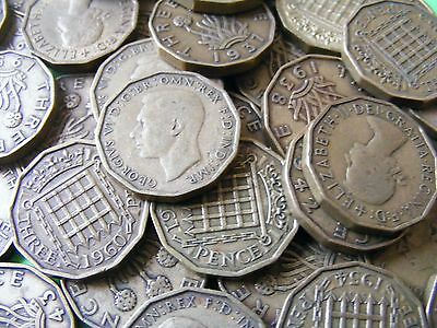 Lot Of Six Different Brass British Threepence Coins 1937-1967