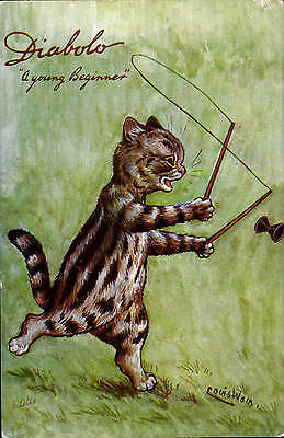 Louis Wain Cat. Diabolo. A Young Beginner in Series 9563 by Tuck.