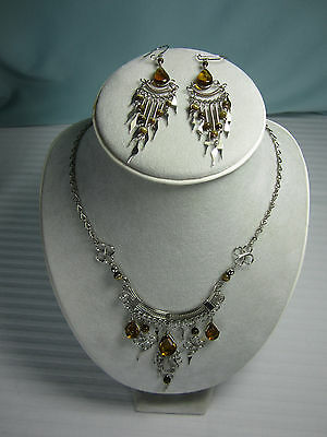 Peru Necklace & Earrings Set Amber Murano Glass Nickel Silver  New