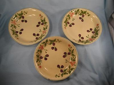 3 Coupe Soup Bowls Adams England Titian Ware Black Raspberries Berry (O3) AS IS