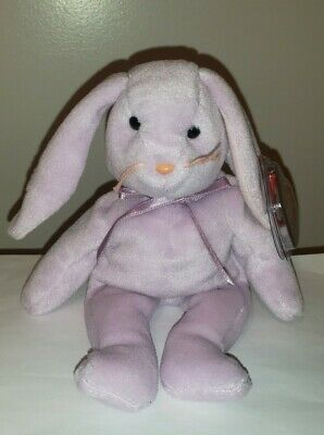 Ty Beanie Baby ~ FLOPPITY the Purple Easter Bunny ~ MINT with MINT TAGS~ RETIRED