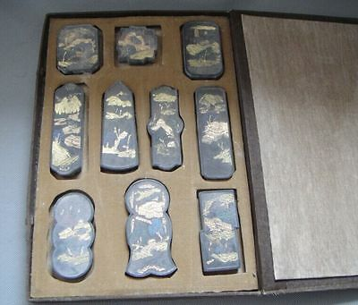 10PC Antiques Traditional Chinese Black Inkstick / Ink Cake 西湖十景