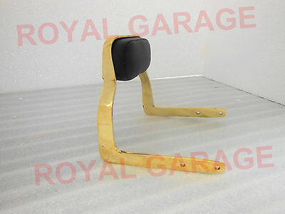 NEW ROYAL ENFIELD BRASS PILLION REAR SEAT HANDLE BACKREST With Jaguar logo decal