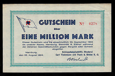 Hamburg -Rhederei Carl Tiedemann- 1 Million Mark vom 25.08.1923