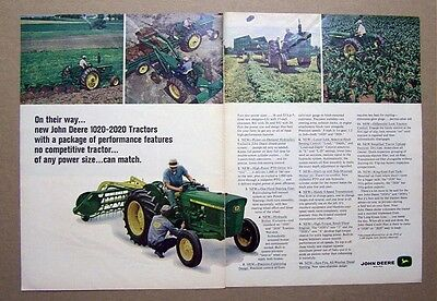 1967 John Deere 5020 Tractor 2 Page Ad NEW 133 HP ROW CROP UP FRONT
