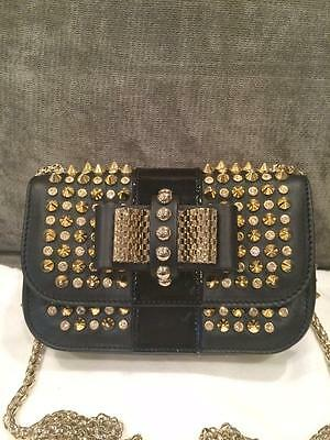 f379fad400 Christian Louboutin Sweety Charity Spikes Chain Shoulder Crossbody Bag Black