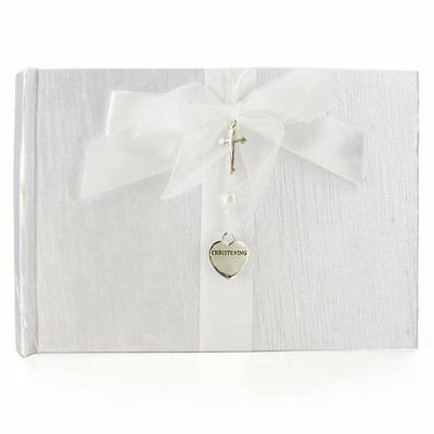 White Christening Guest Book - Silver Cross and Heart Charm CG744