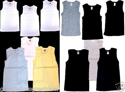 3 Pack Boys Tank Top SB NEW Undershirts Solid Ribbed Infant Toddler Preteen Kids
