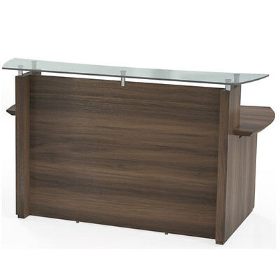 MODERN RECEPTION DESK Office / Salon with Glass Top Counter Receptionist Station