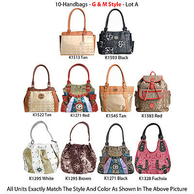 Wholesale Lot - 10 Women's G & M Style Handbags - Designer Hobo & Satchel Purses