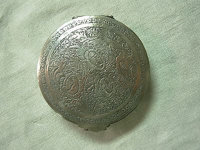Beautiful Ornate Persian Silver Powder Compact With Flowers & Birds ~ Lovely!