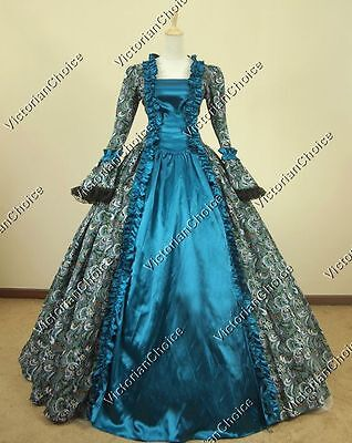 Renaissance Colonial Princess Floral Period Dress Ball Gown Theater Clothing 119