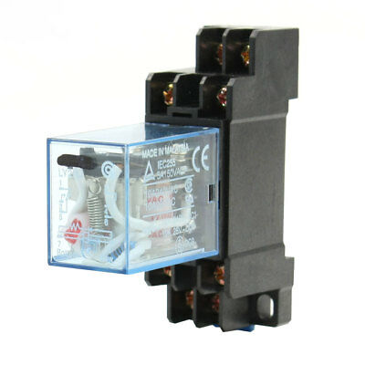 AC 12V Coil DPDT 8P DIN Rail Electomagnetic Relay w Socket