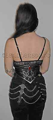 Woman's tooled leather gothic trbal belt / waist cincher with chain and spikes