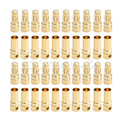 20 Pairs 40 Pcs 3.5mm Bullet Banana Plug Connector Male + Female for RC Battery