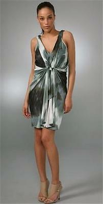 32b8d95e2a094 DVF Diane Von Furstenberg MILTON Draped Blurred Print Dress Grey Size: 8 US  $495