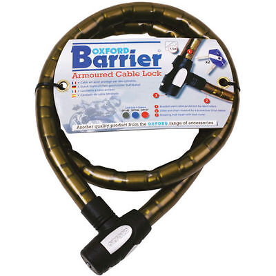 Oxford Barrier Armoured Bike Motorcycle Cable Lock 1.4m x 25mm OF145 - Smoke