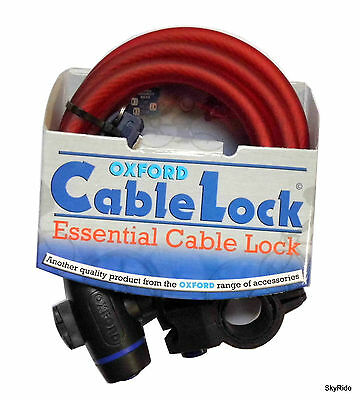 OXFORD RED Spiral Mountain Bike Cycle Bicycle Safety CABLE LOCK - 1.8m x 12mm