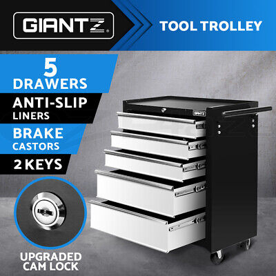 Giantz 5 Drawers Tool Box Chest Cabinet Trolley Boxes Garage Storage Toolbox GY