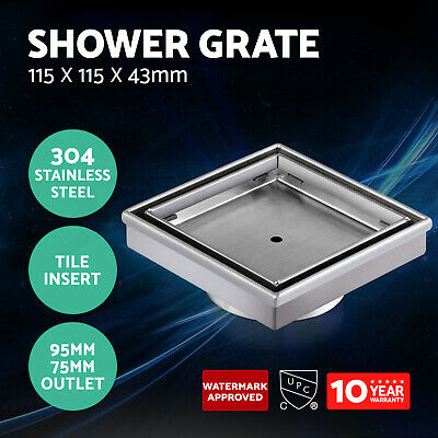 Cefito 304 Stainless Steel Shower Grate Tile Insert Drain Waste 80/100mm Outlet