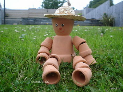 Terracotta Flower Pot Man With Straw Hat Garden Ornament Hang-Seated Flowerpot