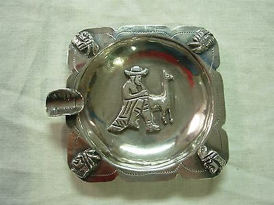 Vintage Signed Peru Sterling Ashtray With Man Llama Indians & Mask ~ 97 Grams