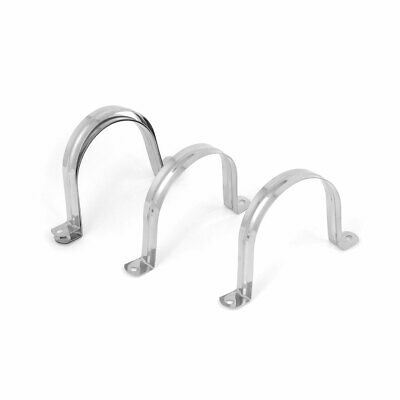 5 Pcs Stainless Steel Pipe Strap Clips Fastener Silver Tone for 90mm Dia Tube