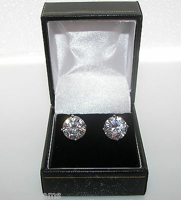 Big 4ct Created Diamond Stud Earrings Gift Boxed 925 Sterling Silver Bling