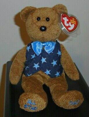 Ty Beanie Baby ~ ALL STAR DAD the Bear ~ MINT with MINT TAGS ~ RETIRED
