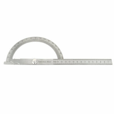Metal Rotating 0-180 Degree Angle Gauge Protractor 15cm Ruler Measuring Tool