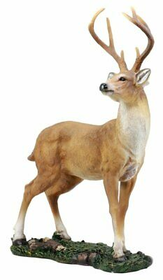 Large Decor Deer 8 Point Big Buck Figurine Hunters Cabin Rustic Statue Wildlife
