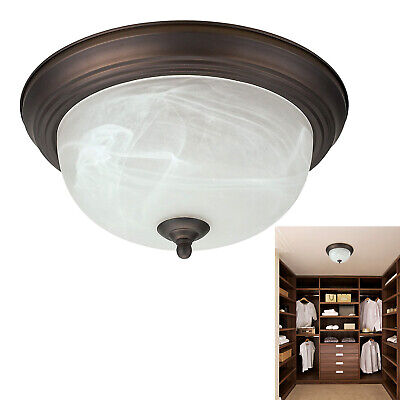 "Oil Rubbed Bronze Flush Mount Ceiling Light Fixture 13"" Alabaster Glass Shade"