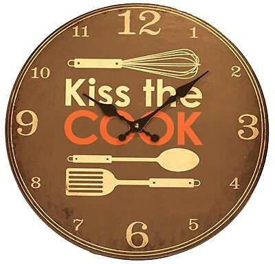 Clearance Sale 34cm Kiss The Cook Large Wooden Kitchen Wall Clock Vintage Style