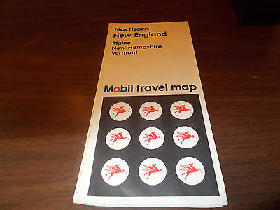 1971 Mobil Northern New England Vintage Road Map