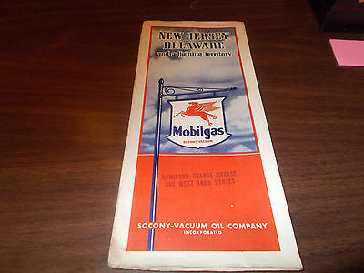 1939 Mobil New Jersey/Delaware Vintage Road Map
