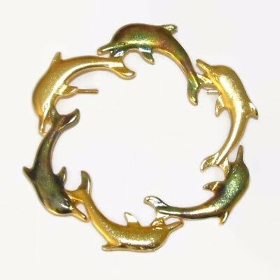 "DOLPHIN Porpoise Ocean Sea Circle Pin Brooch Gold Tone Green 1.75"" Metal NEW"