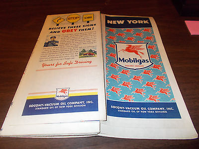 1941 Mobil New York Vintage Road Map